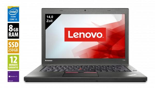 Lenovo ThinkPad T450 - 14,0 Zoll - Core i5-5300U @ 2,3 GHz - 8GB RAM - 240GB SSD - WSXGA (1600x900) - Webcam - Win10Pro