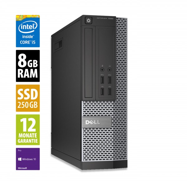 Dell OptiPlex 7020 SFF - Core i5-4590 @ 3,3 GHz - 8GB RAM - 256GB SSD - DVD-RW - Win10 PRO
